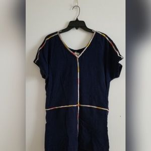 Madewell navy embroidered mini dress size M